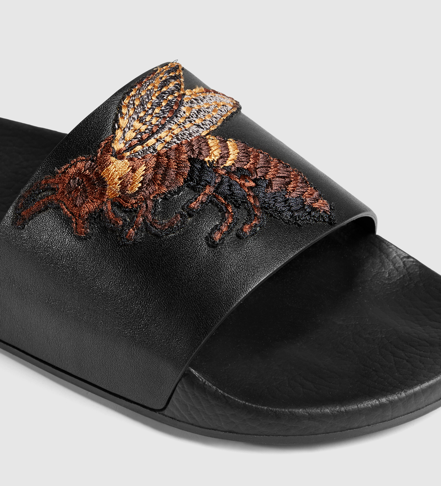 Lyst Gucci Leather Sandal With Bee In Black For Men