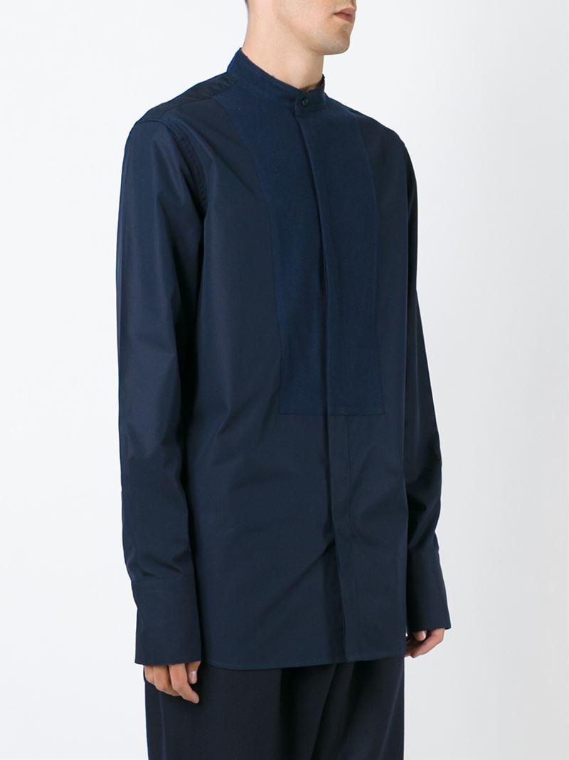 Lyst Marni Mandarin Collar Shirt In Blue For Men