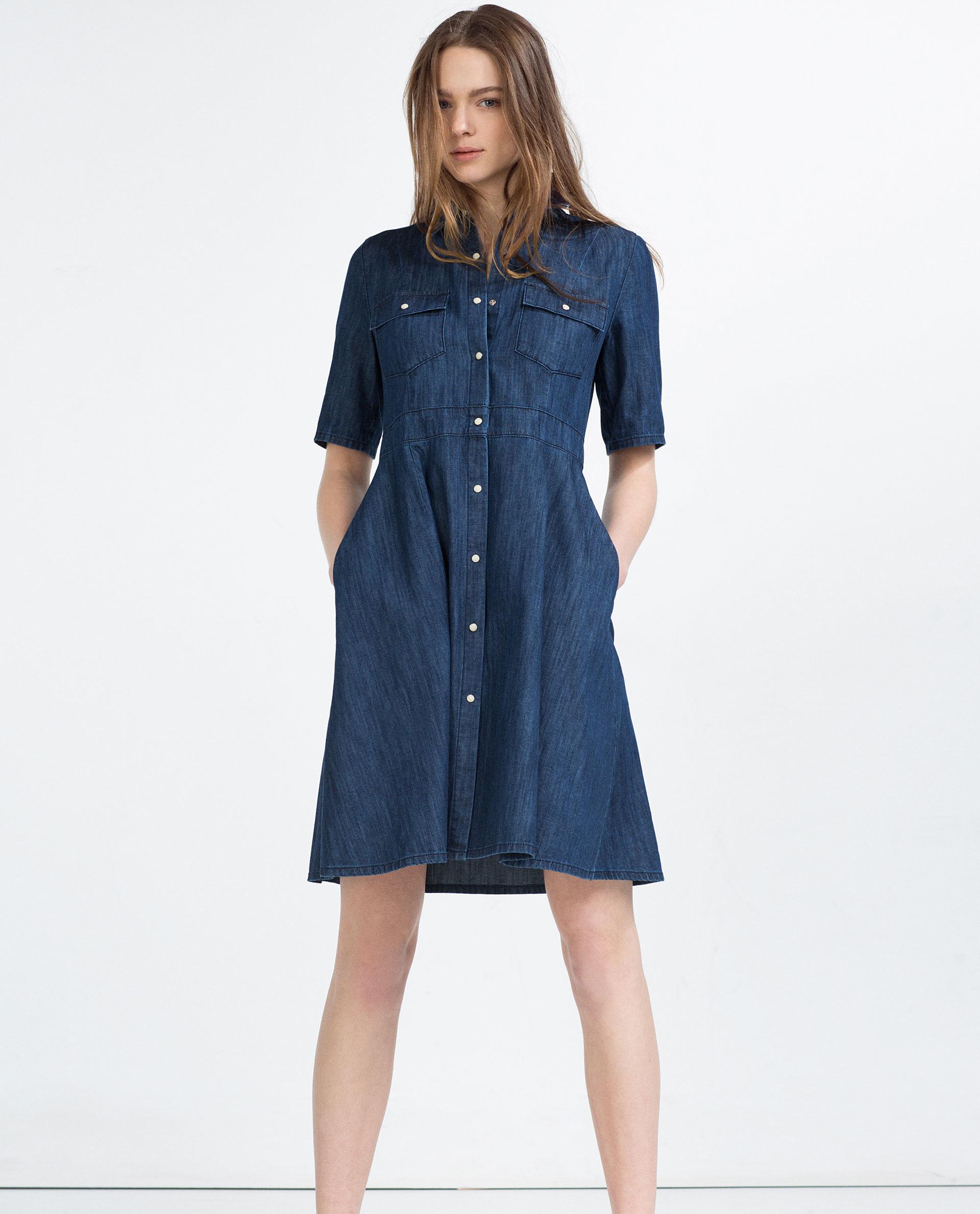 Zara Denim Dress In Blue Lyst