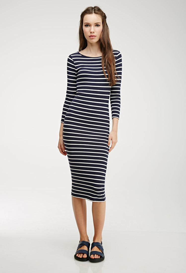 Lyst Forever 21 Striped Stretch Knit Midi Dress In Blue