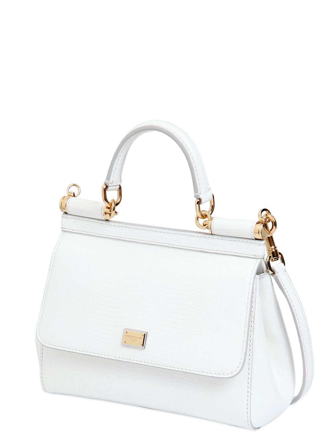 Lyst - Dolce   Gabbana Small Sicily Iguana Embossed Leather Bag in White b904dfb9e2fdc