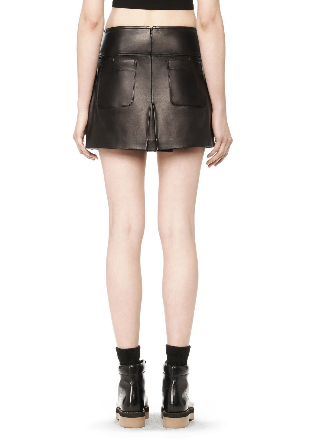 wang leather a line skirt in black lyst