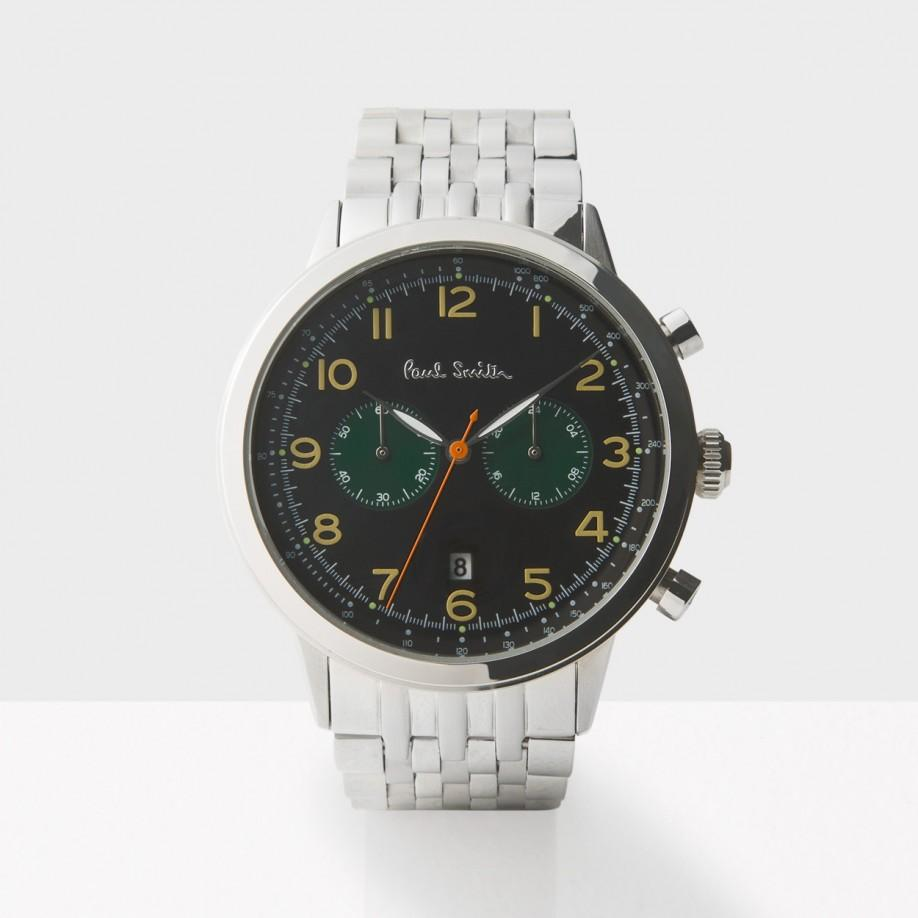 paul smith s black and silver precision chronograph