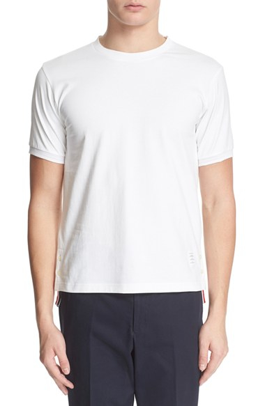 Lyst thom browne striped cotton t shirt in white for men for Thom browne white shirt