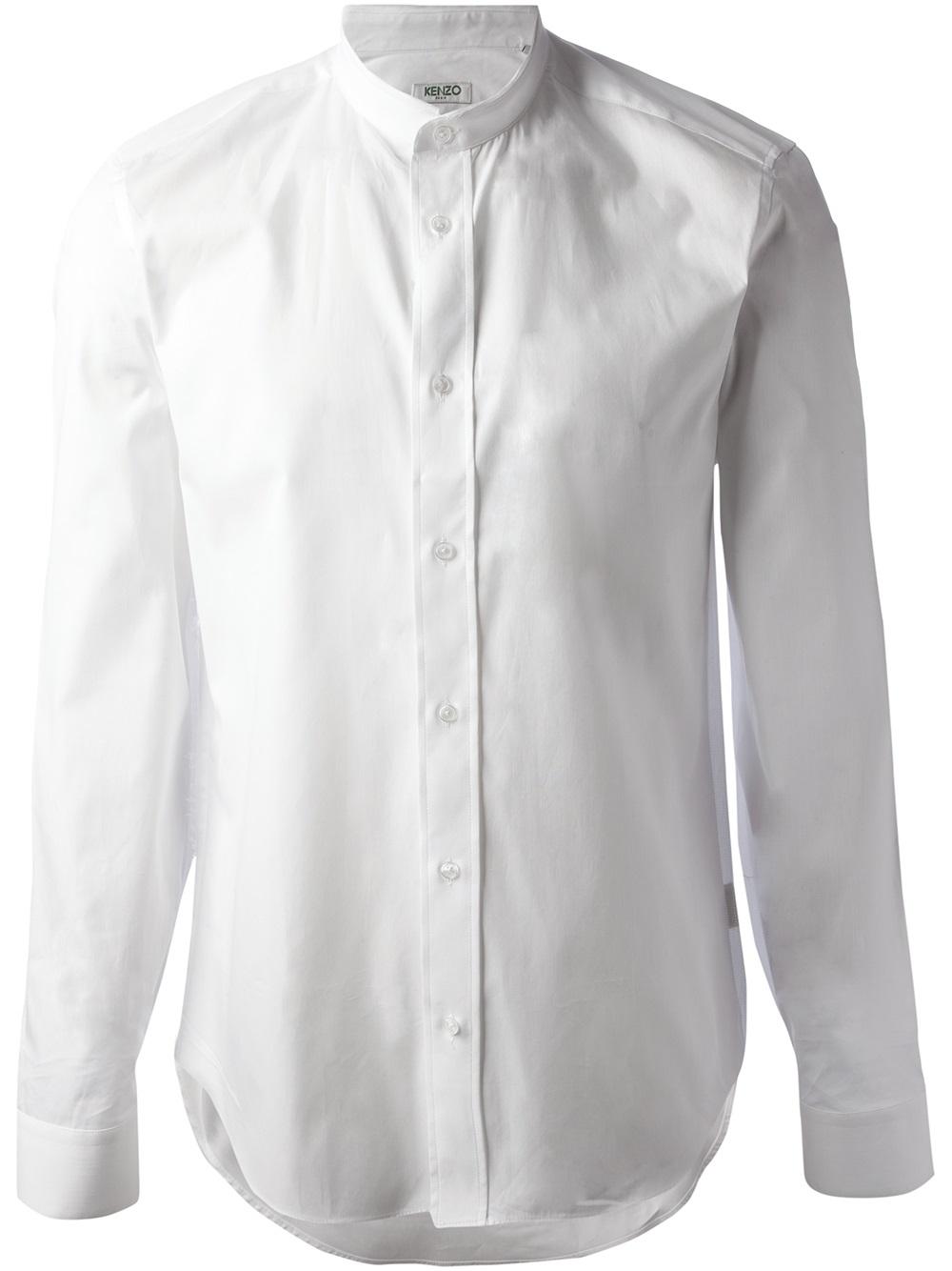 kenzo round collar shirt in white for men lyst