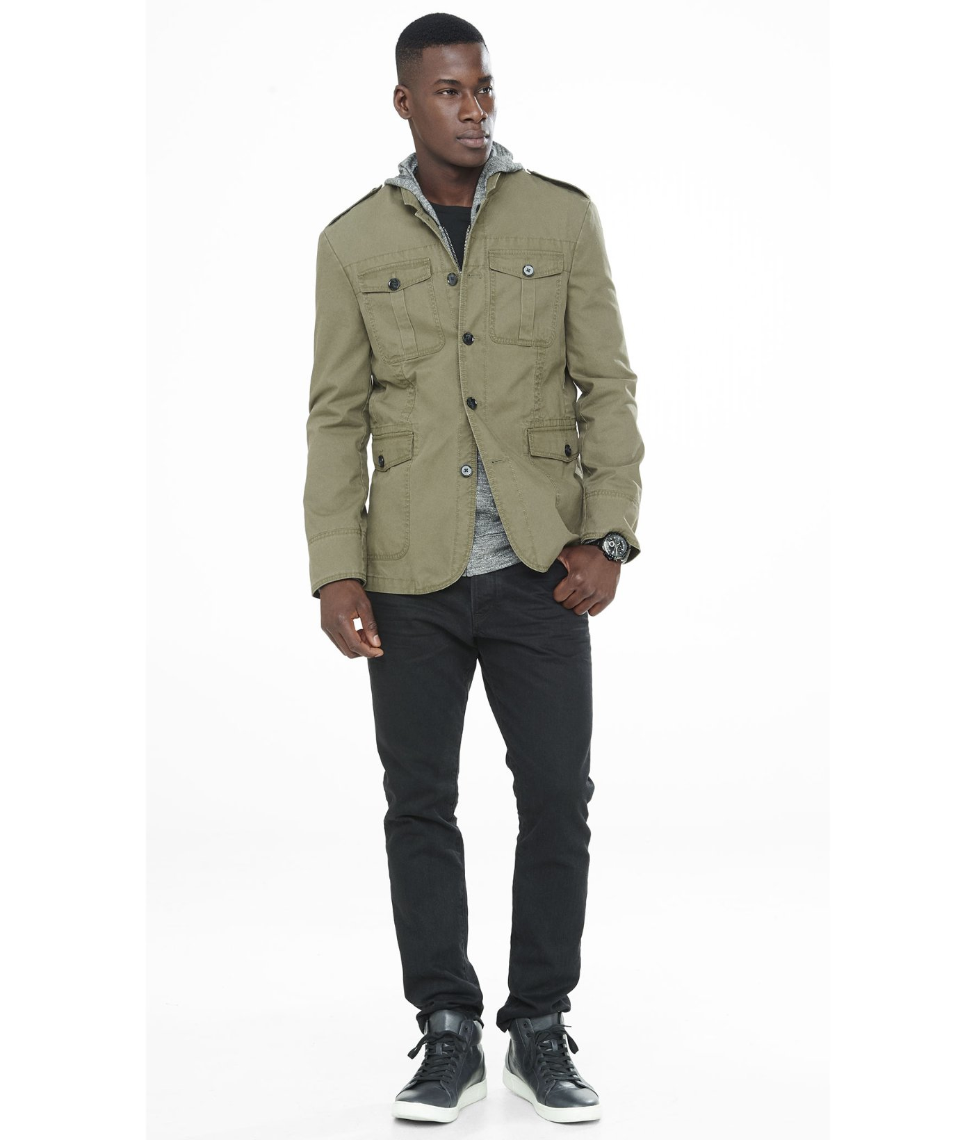 Olive military jacket mens