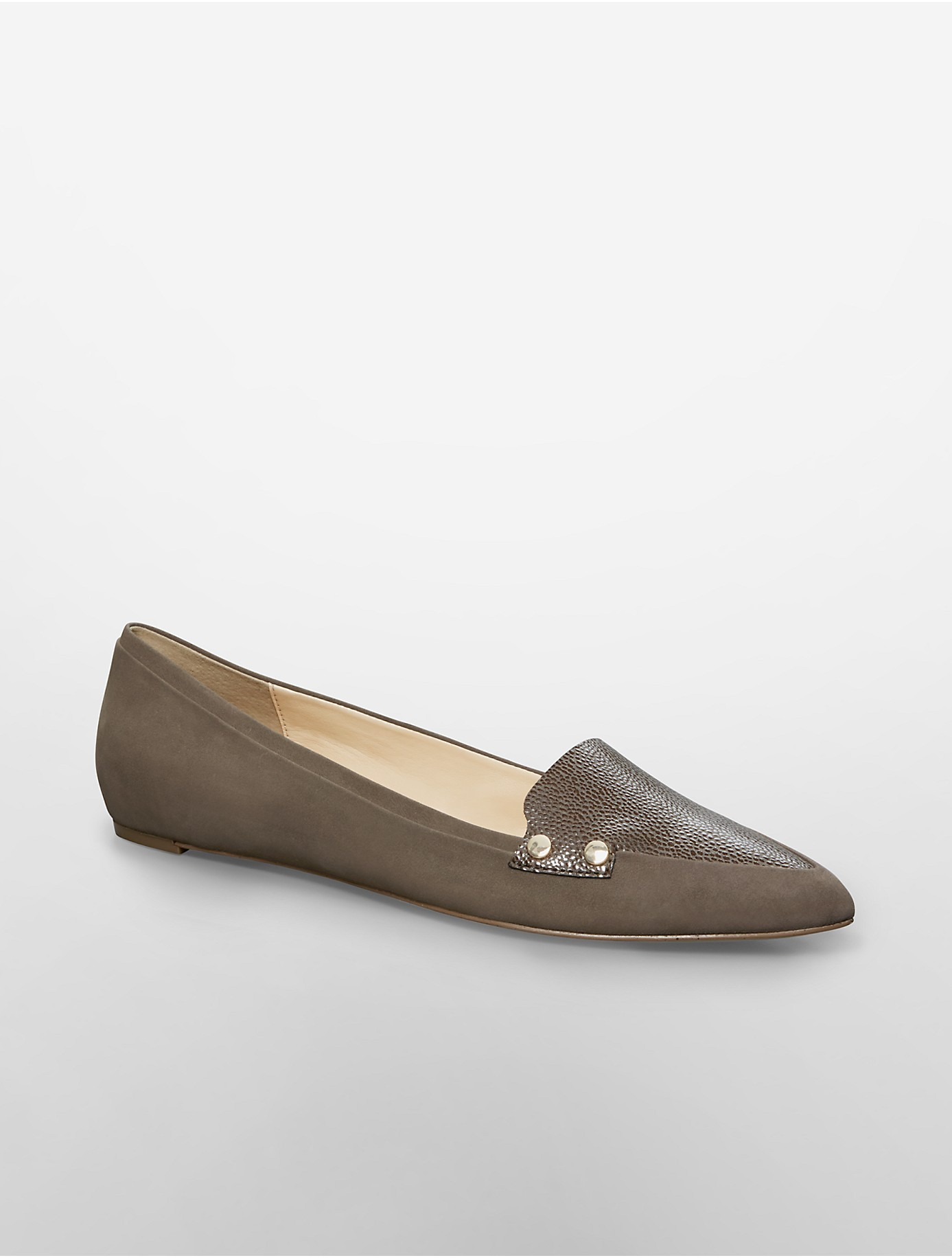 Calvin Klein White Label Beatrice Pointed Toe Flat In Gray | Lyst