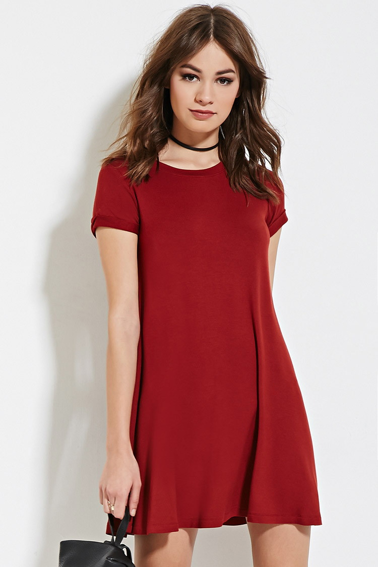 4a011a5bb8c8 Lyst - Forever 21 A-line T-shirt Dress in Red