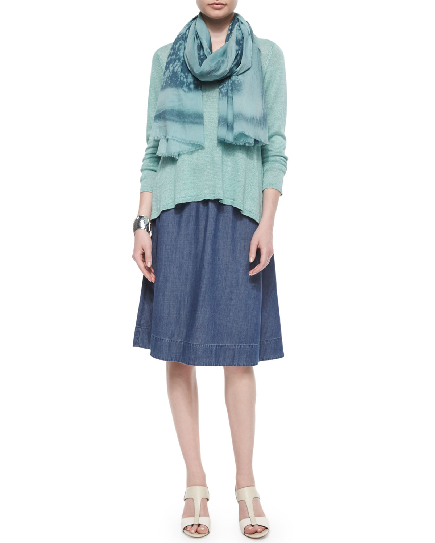 eileen fisher gathered denim a line skirt in blue lyst