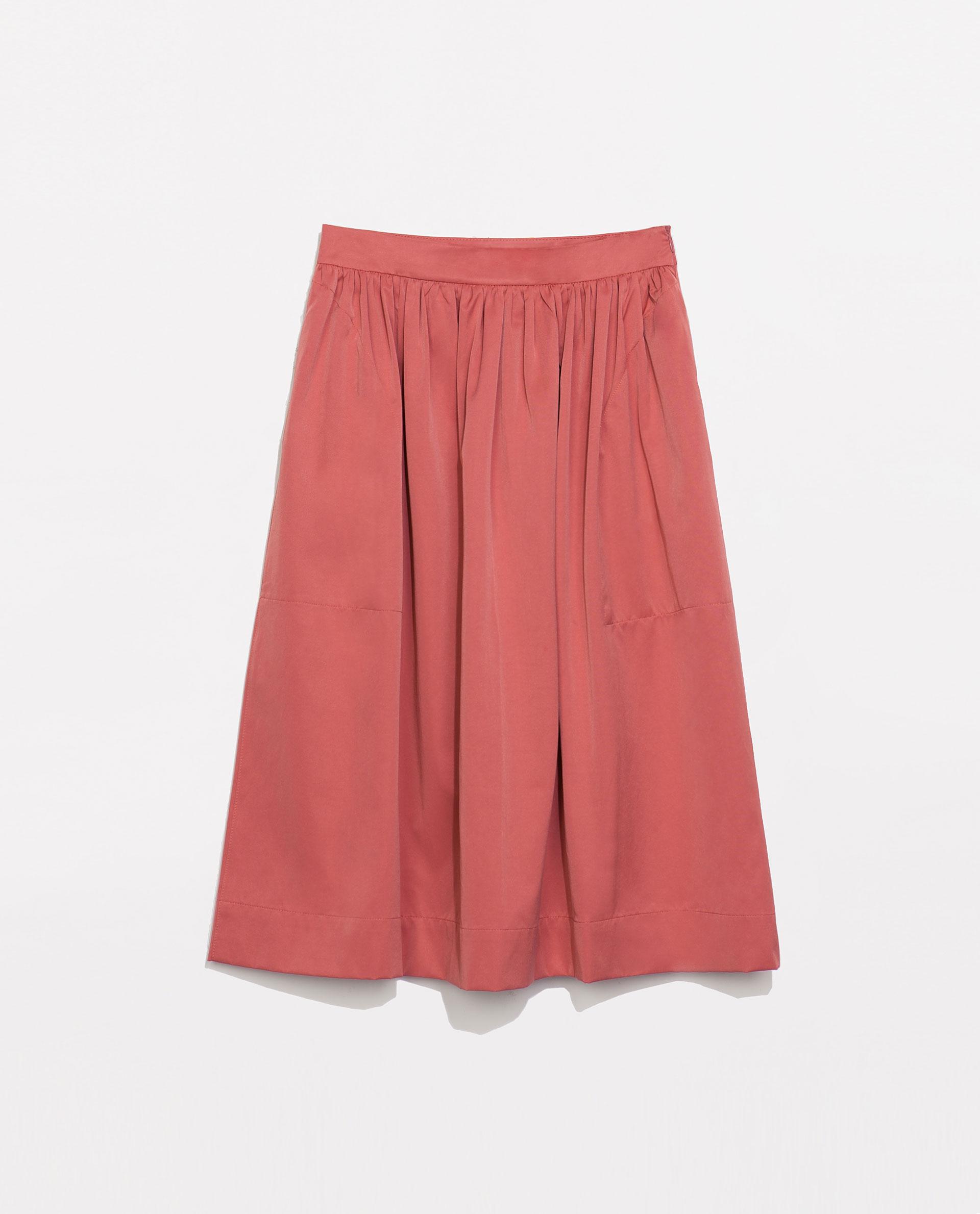 zara midi skirt in pink lyst