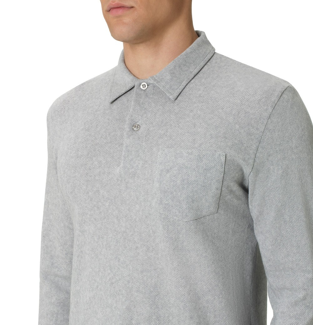 6d3527e3809e Sunspel Men's Combed Cotton Long Sleeve Riviera Polo Shirt in Gray ...