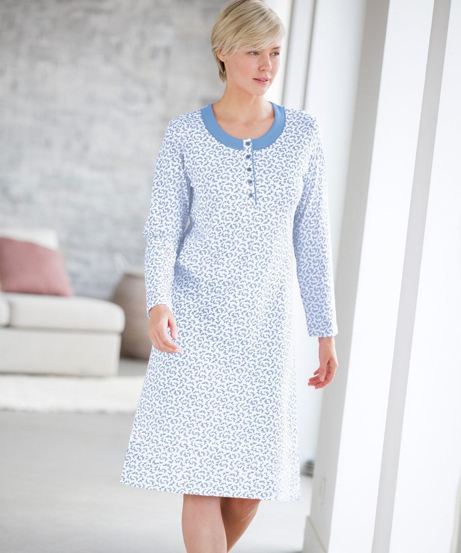 DAMART Long Sleeved Nightdress in Blue - Lyst 96960f3c0