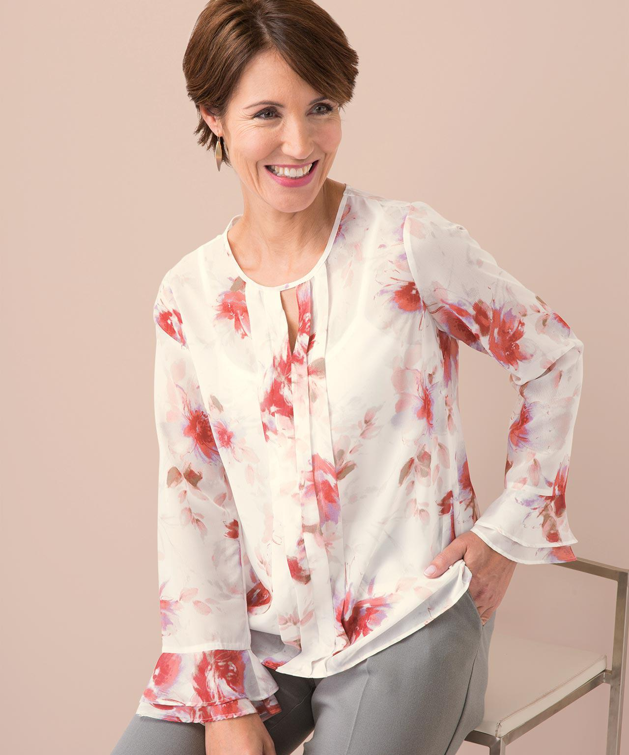 58f0f3feaa DAMART Floral Printed Blouse in Pink - Lyst