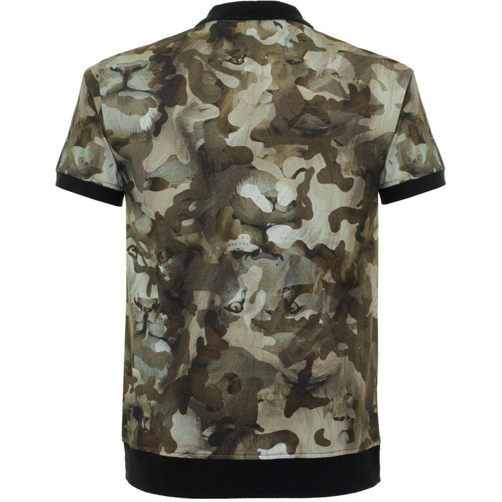 Versus camo verde polo shirt bu90278 for men lyst for Camo polo shirts for men