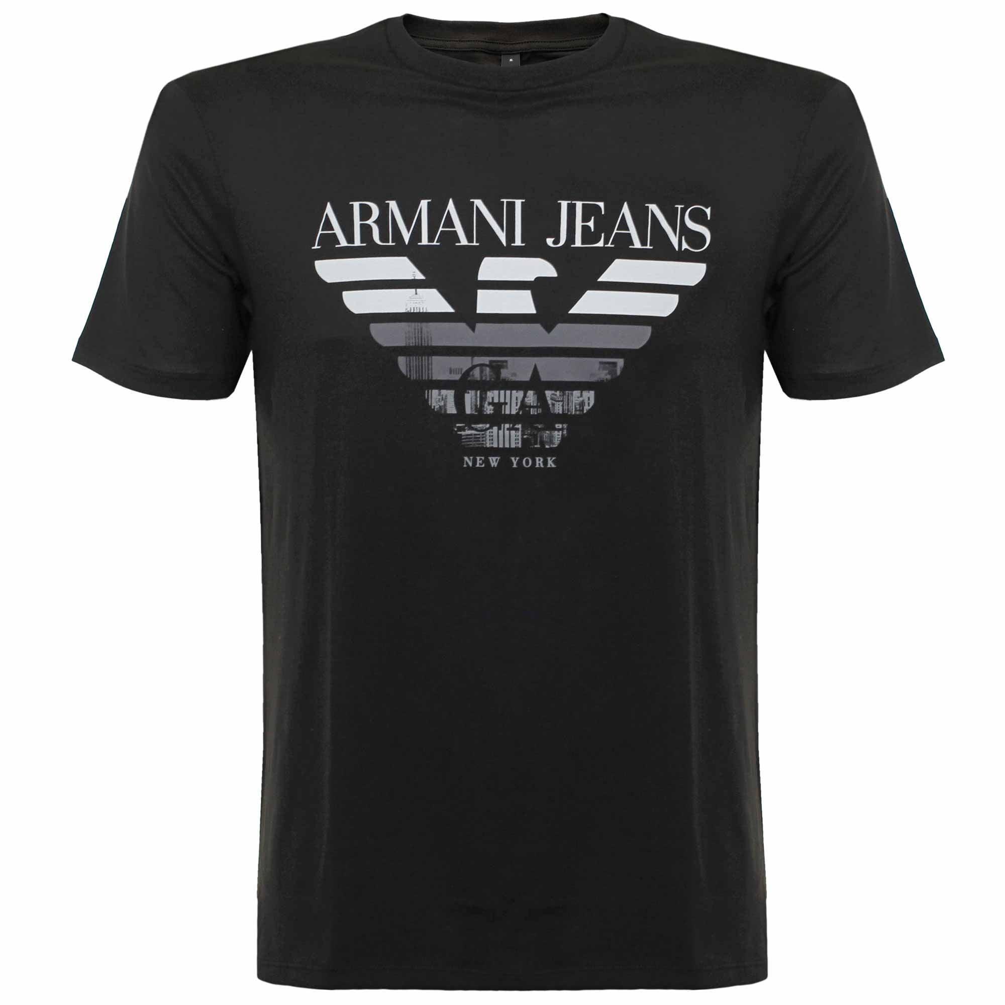 Lyst armani jeans logo t shirt in black for men for Black armani t shirt