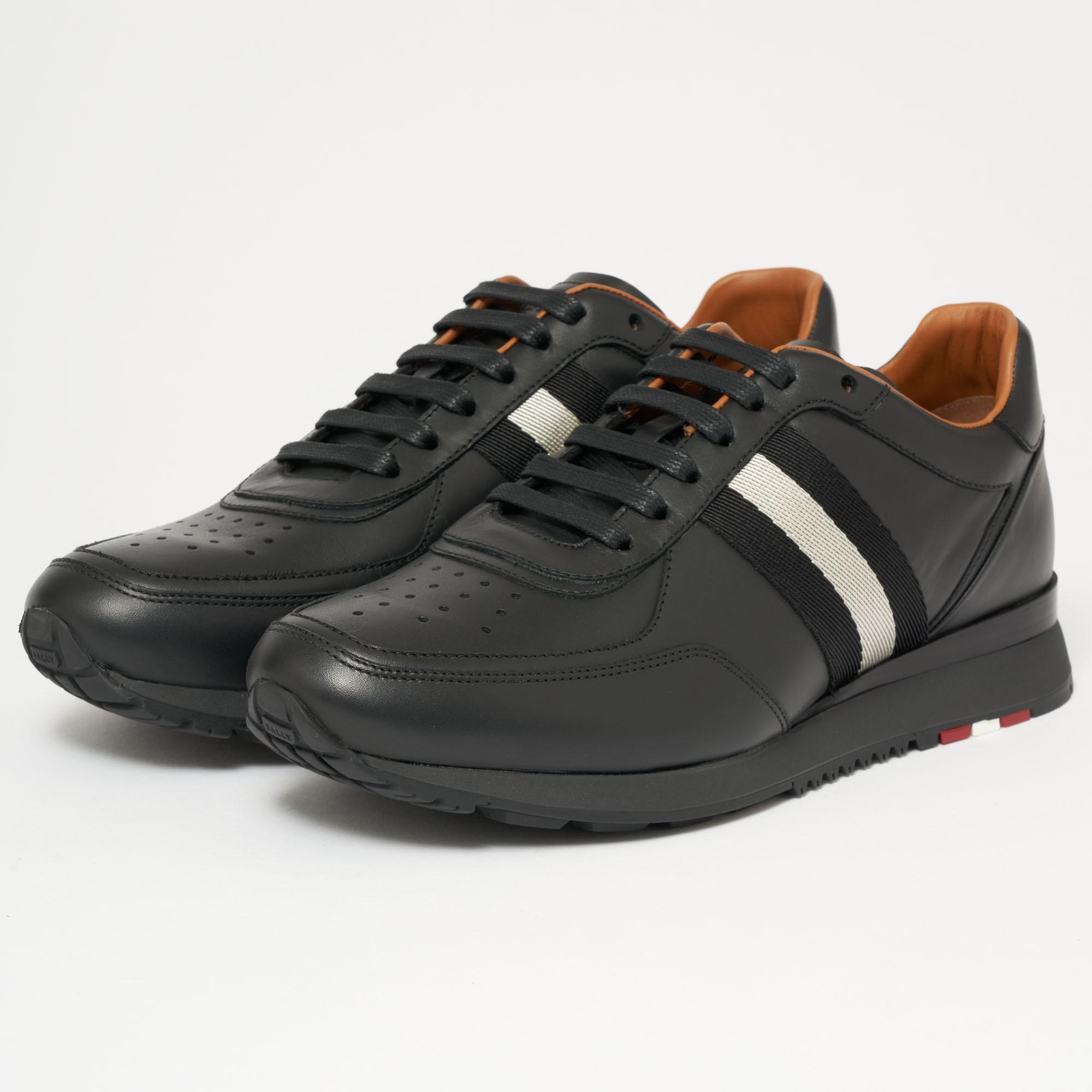Aston Black, Mens leather trainer in black Bally