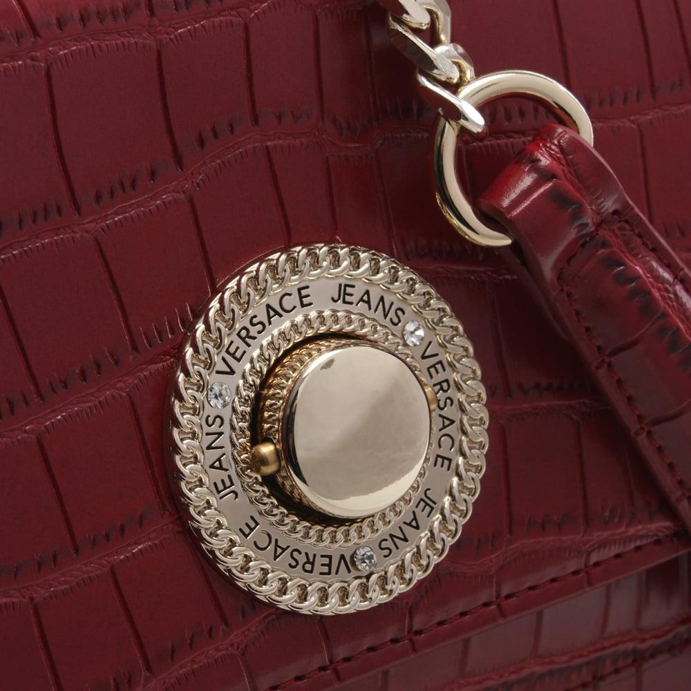 6ee1721ec8 Versace Jeans Plaque Red Moc Croc Shoulder Bag in Red - Lyst