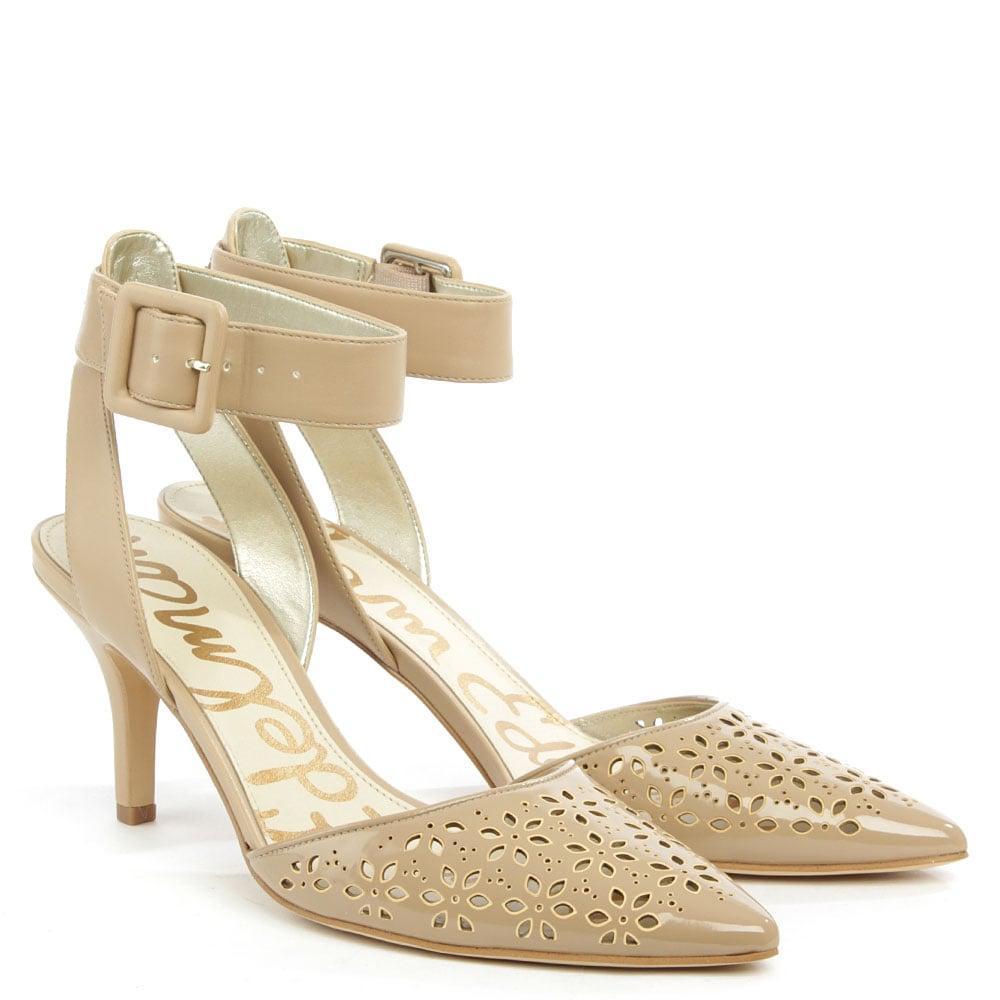 ddd53ef9a834f Lyst - Sam Edelman Odynna Nude Patent Perforated Ankle Strap Court ...
