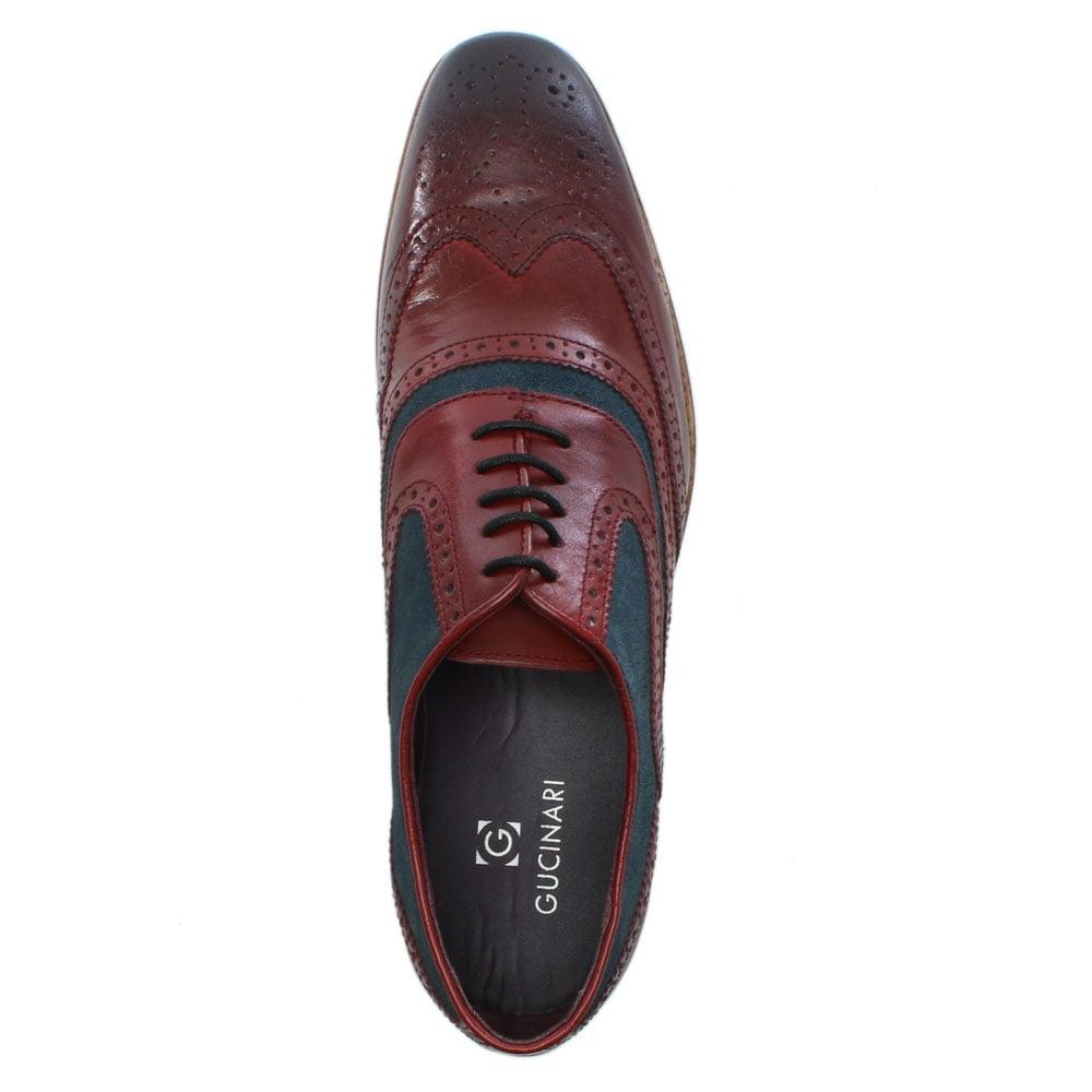 ad03b32fe84a3 Gucinari Burgundy Leather Suede Trim Lace Up Brogues for Men - Lyst