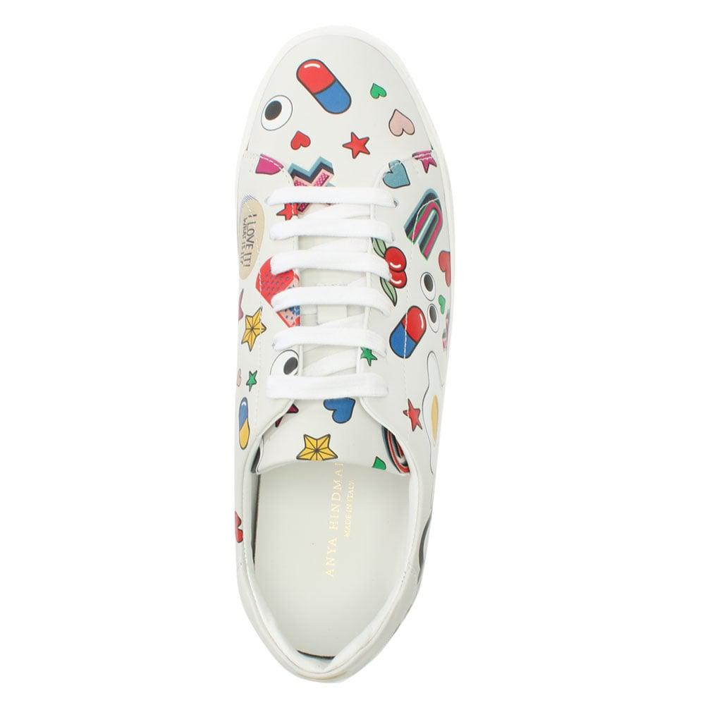 Lyst - Anya Hindmarch All Over Wink White Leather Lace Up Tennis ... e2ac488fb70