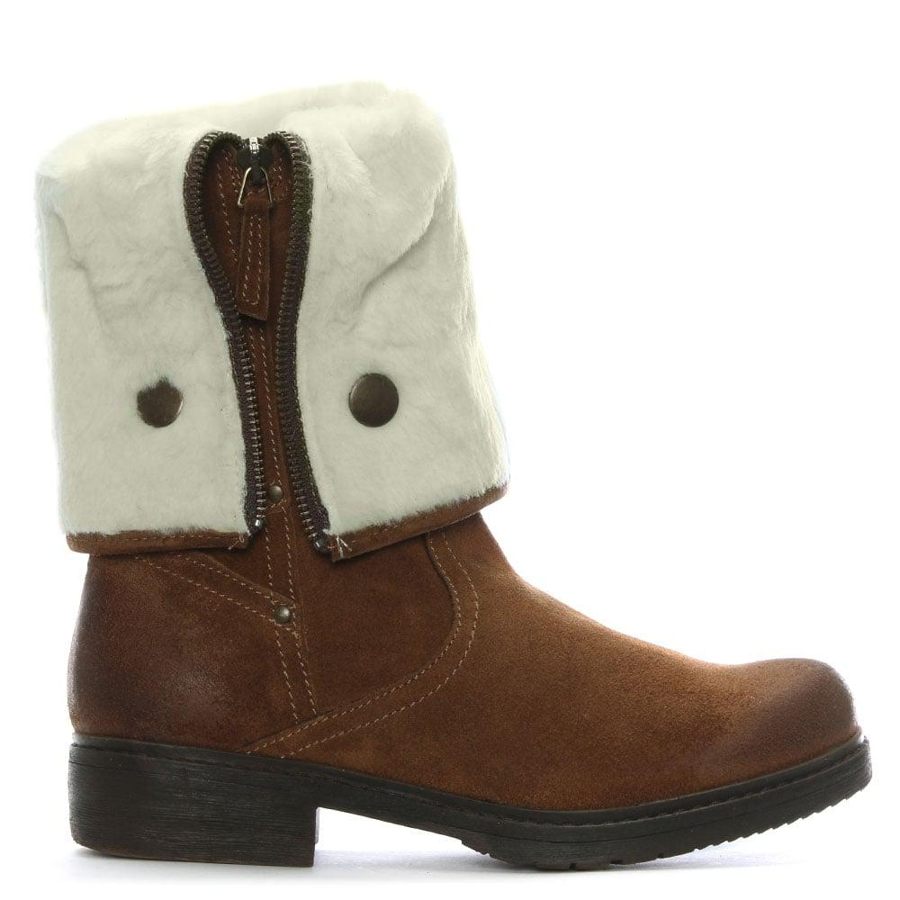 f86a30501f2 Shoon Brown Suede Cuffed Calf Boots in Brown - Lyst