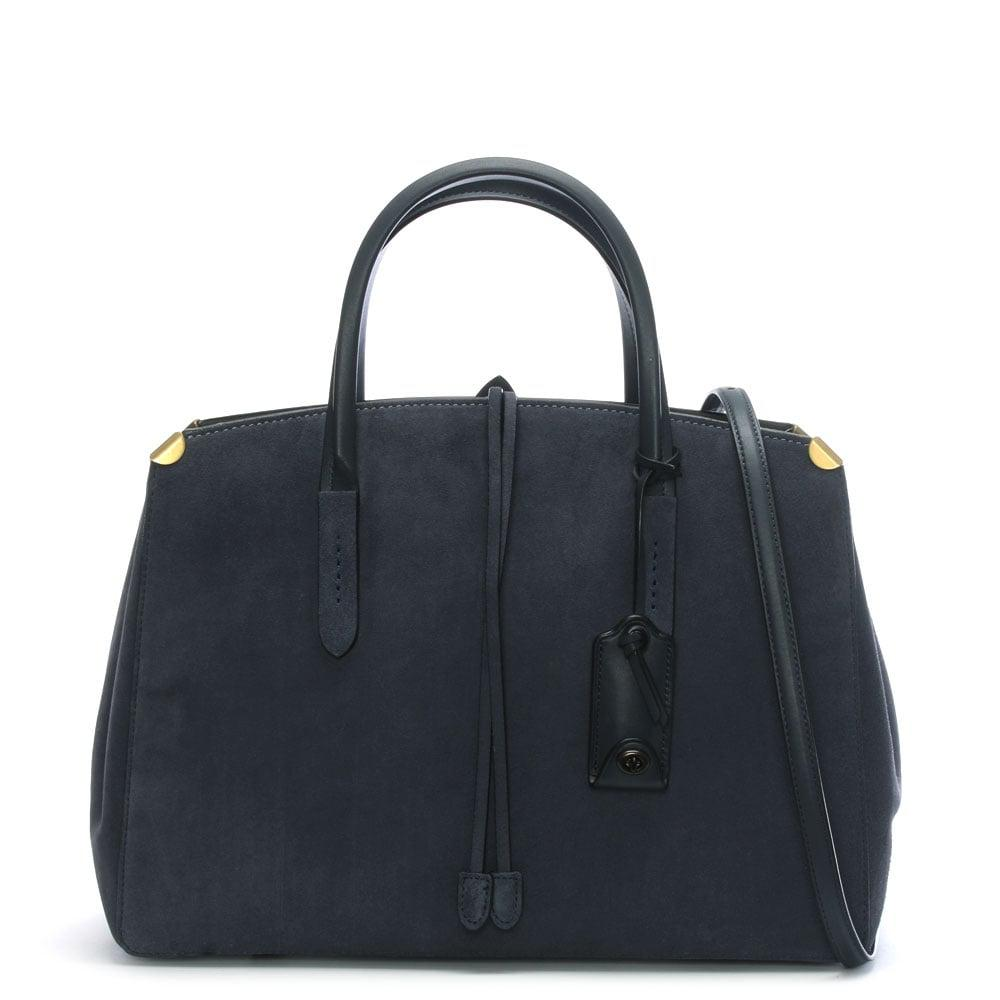 Coach Women S Blue Cooper Carryall Midnight Navy Suede Tote Bag