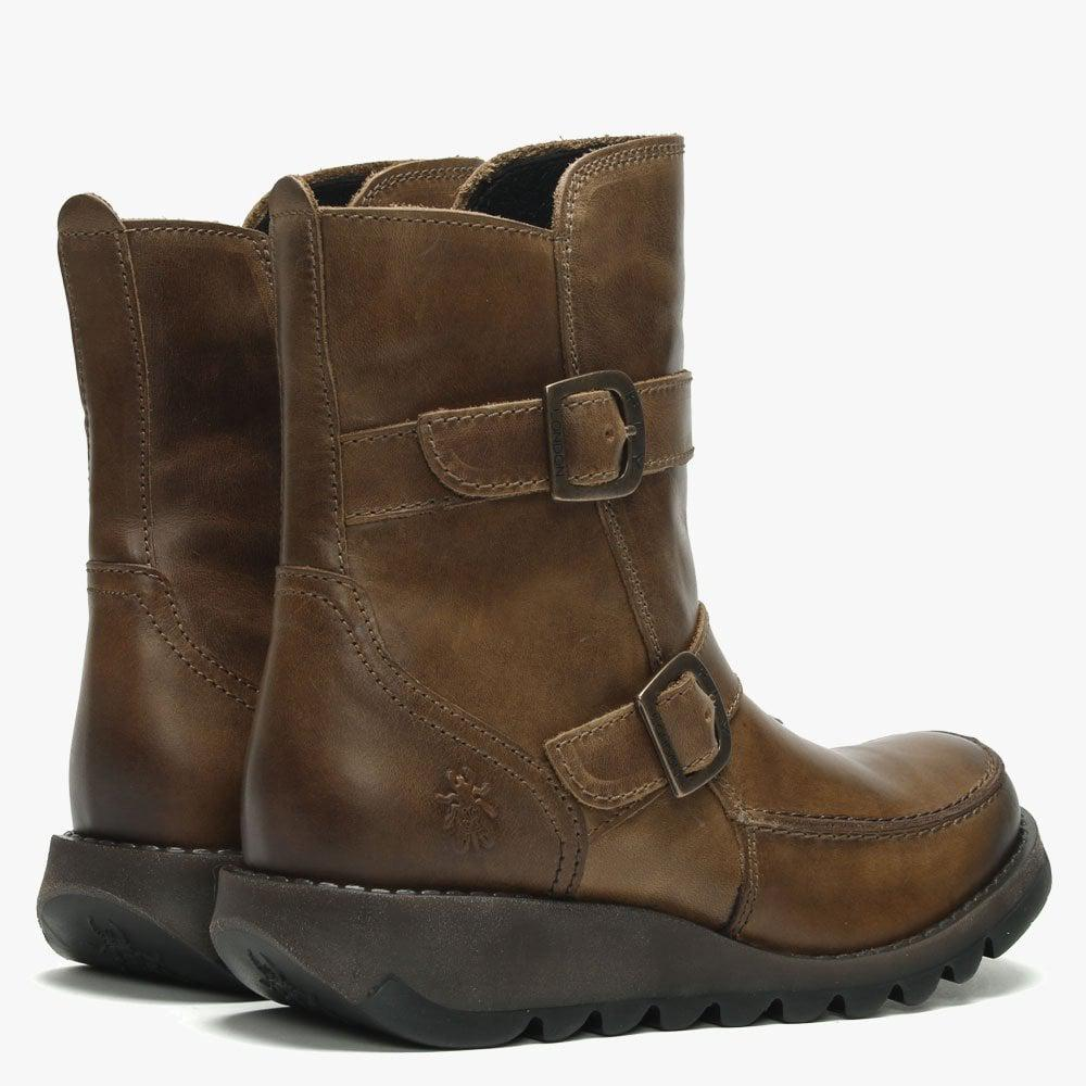 a95be68bd913 Fly London - Brown Sann Camel Leather Double Buckle Low Wedge Ankle Boots -  Lyst. View fullscreen
