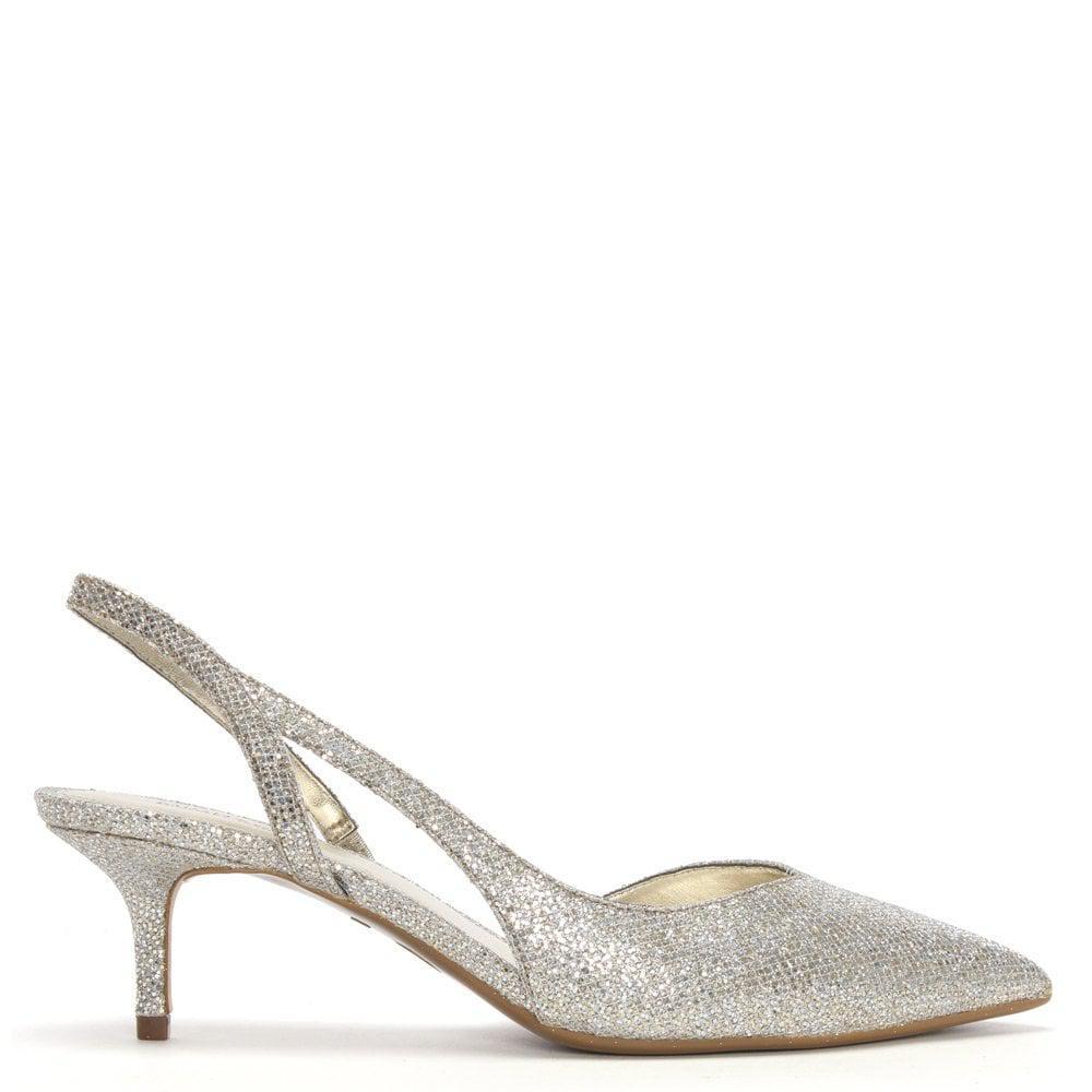 33267347080 Michael Kors - Metallic Eliza Champagne Glitter Sling Back Kitten Heels -  Lyst. View fullscreen