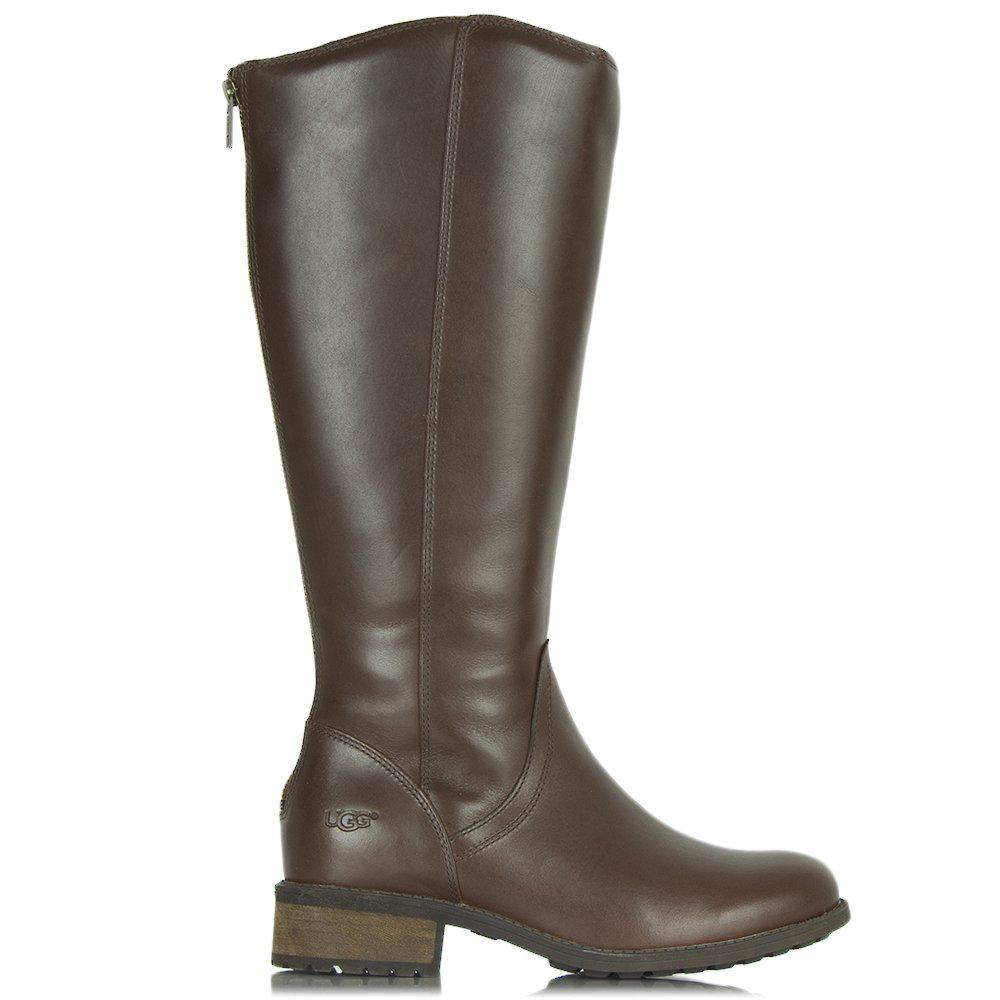 53ac0597a32 Ugg Brown Seldon Dark Chestnut Leather Knee Boot