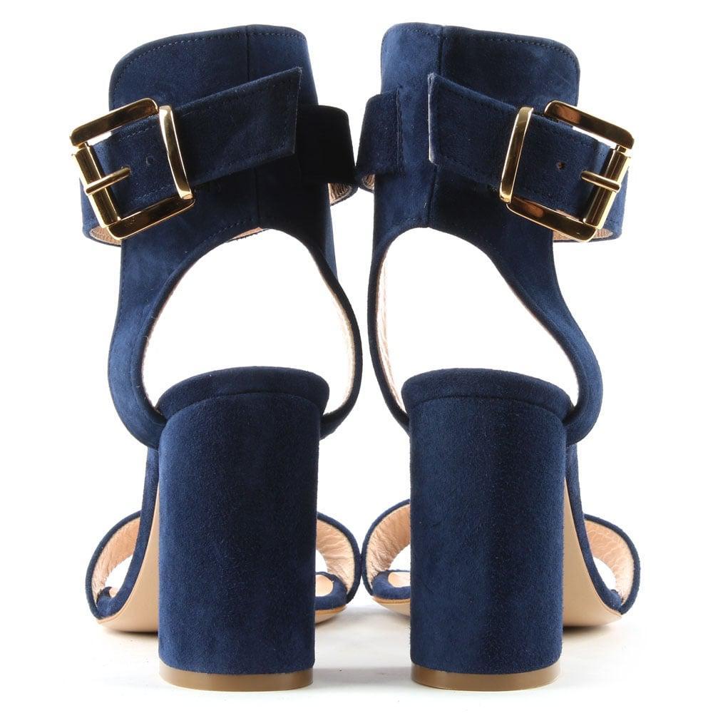 23e4fce846 Daniel Amaha Navy Suede Block Heel Sandal in Blue - Lyst