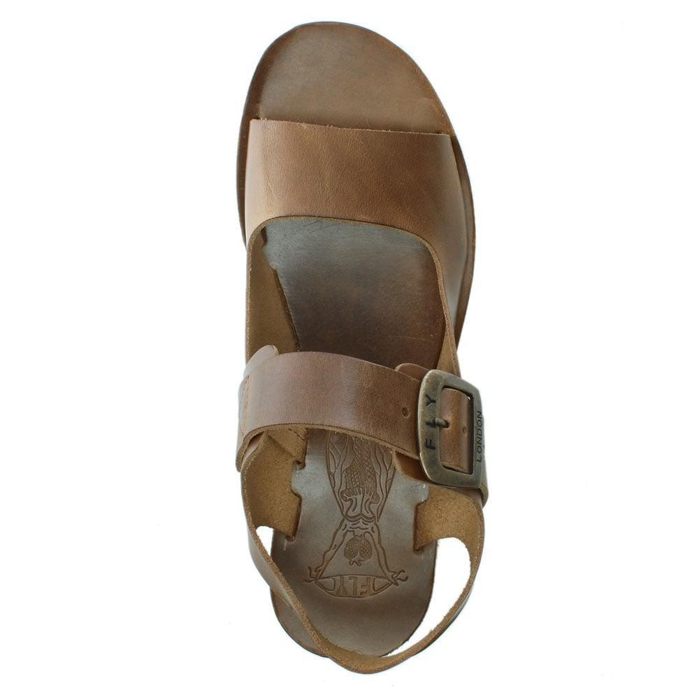 5787934959a8df Lyst - Fly London Yail Brown Leather Two Strap Sling Back Sandals in ...