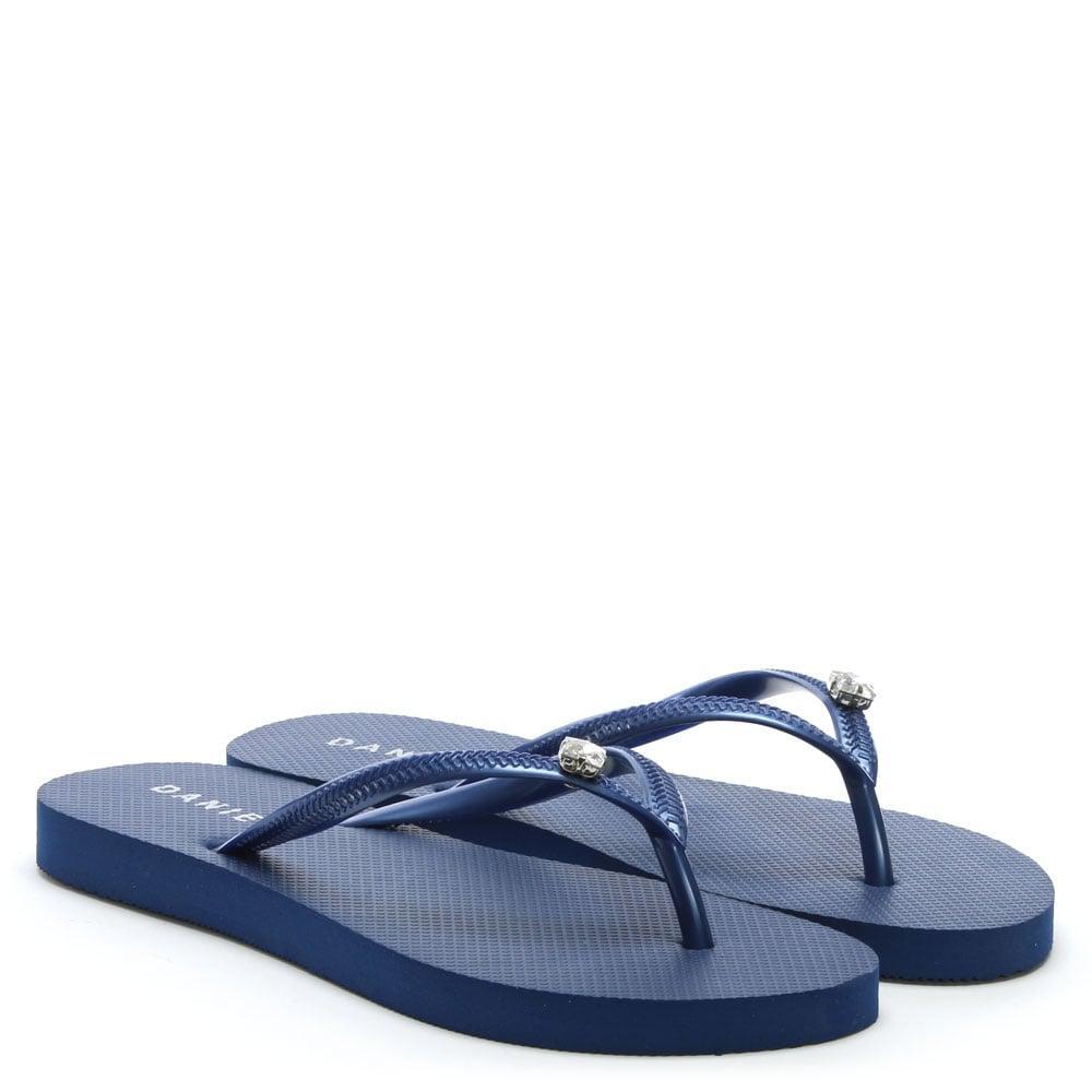 0915964a58830 Daniel Elona Navy Jewelled Toe Post Flip Flops in Blue - Lyst