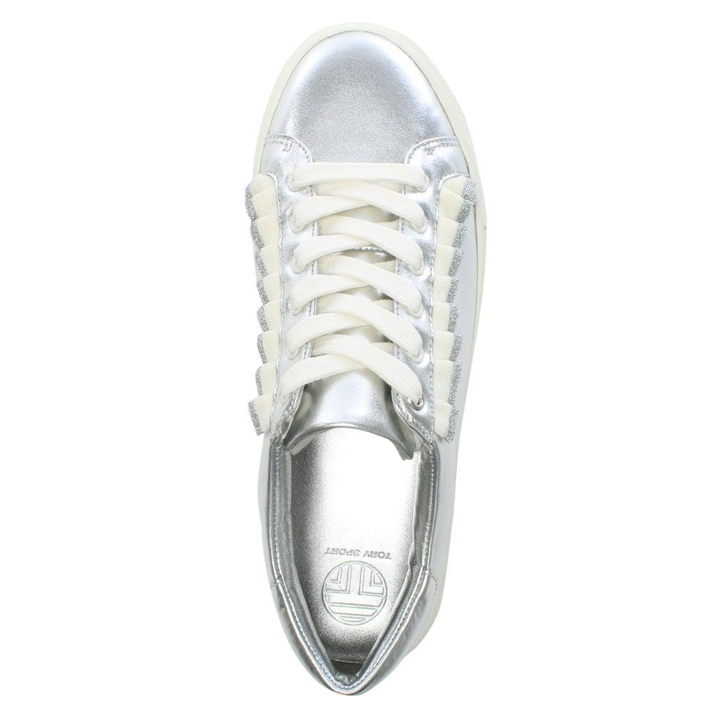 ac9212ded0be7c Tory Burch Ruffle Silver Leather Lace Up Sneakers in Metallic - Save ...