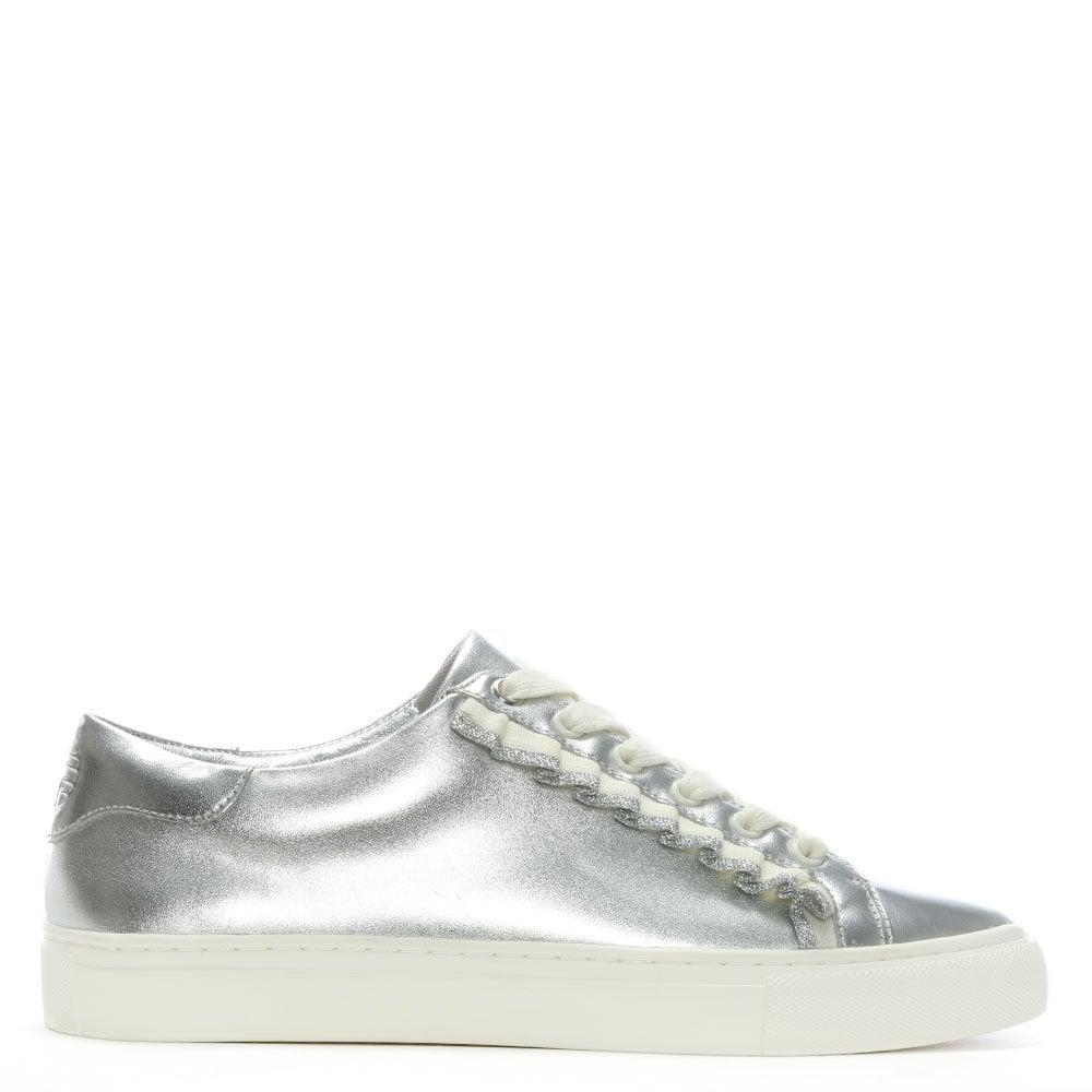 Ruffled Metallic Leather Sneakers - Silver Tory Burch iyNwNo
