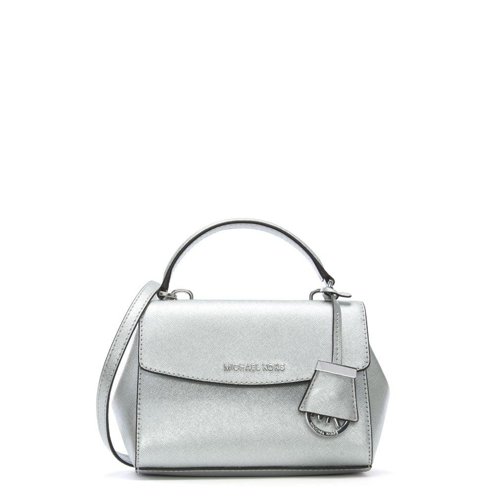 8a0ffaf96ab2 Michael Kors Ava Mini Silver Leather Cross-body Bag in Metallic - Lyst