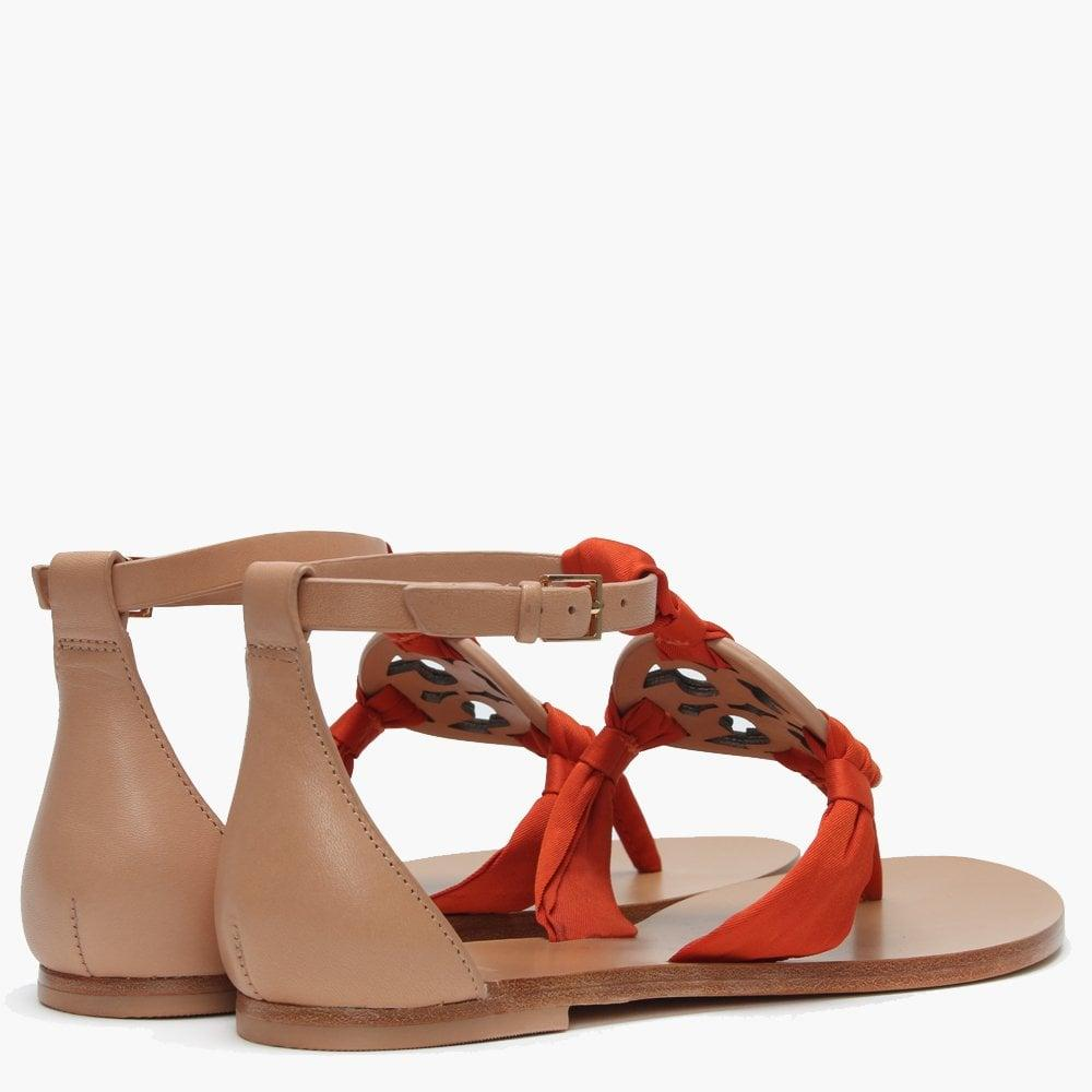 4f4b56c8ed74 Tory Burch - Multicolor Miller Natural Leather Satin Scarf Sandals - Lyst.  View fullscreen