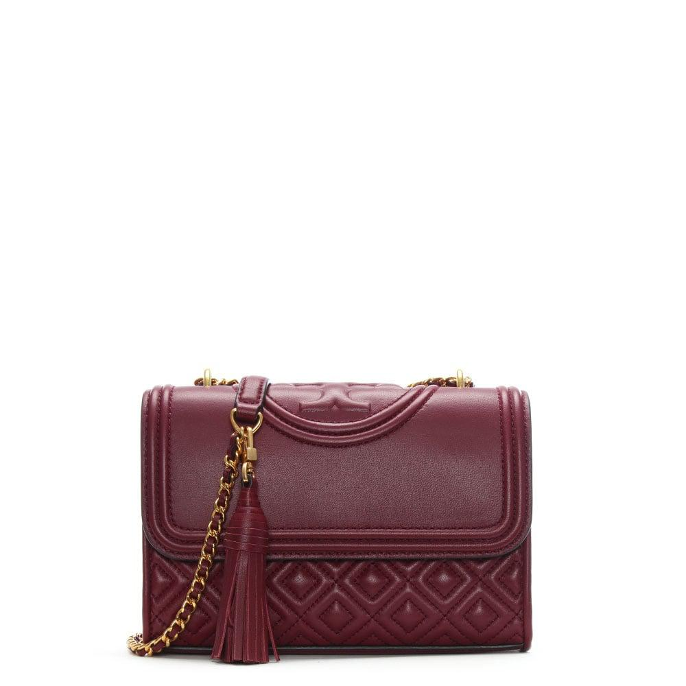 a8a2860428c2 Lyst - Tory Burch Fleming Small Convertible Imperial Garnet Leather ...