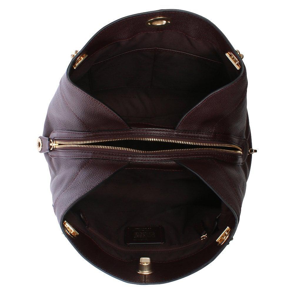 Lyst - Coach Turnlock Edie Oxblood Polished Pebbled Leather Shoulder ... 866320ae83cc4