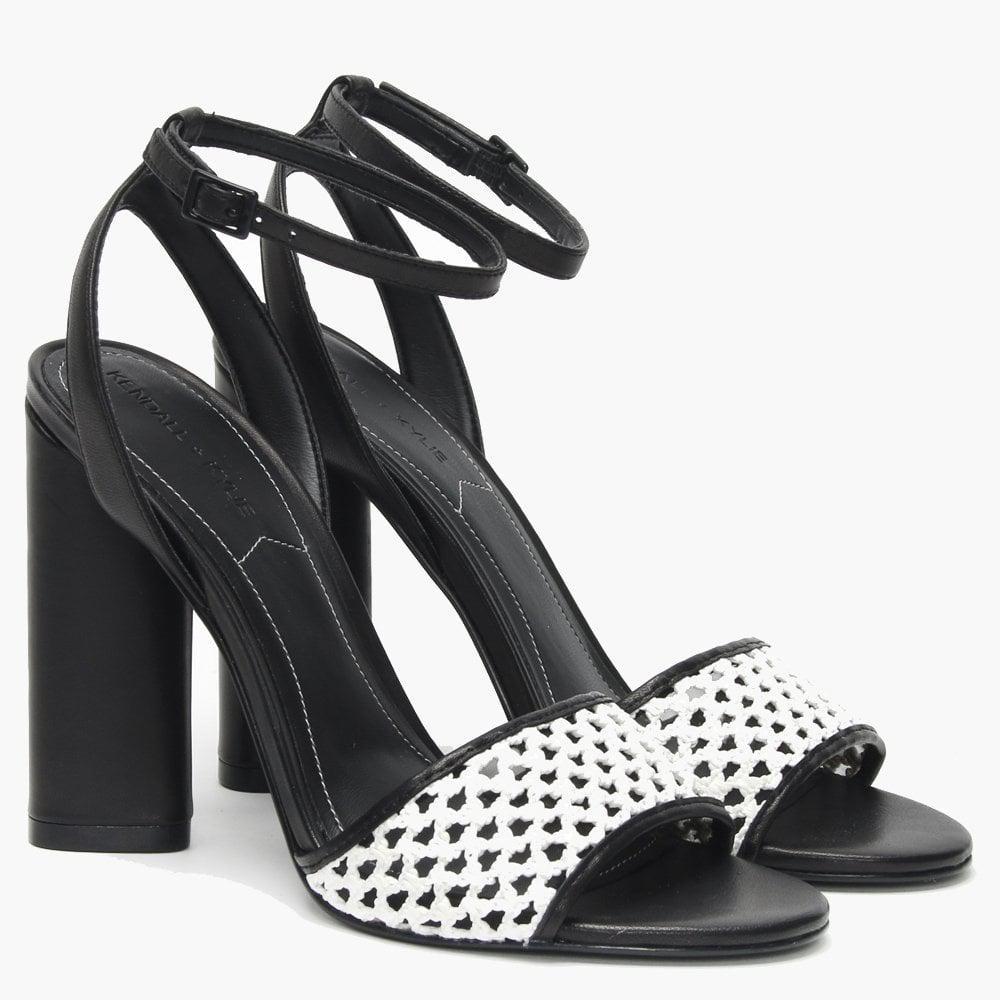 015efe9e04f Kendall + Kylie Genna White   Black Leather Block Heel Sandals in ...