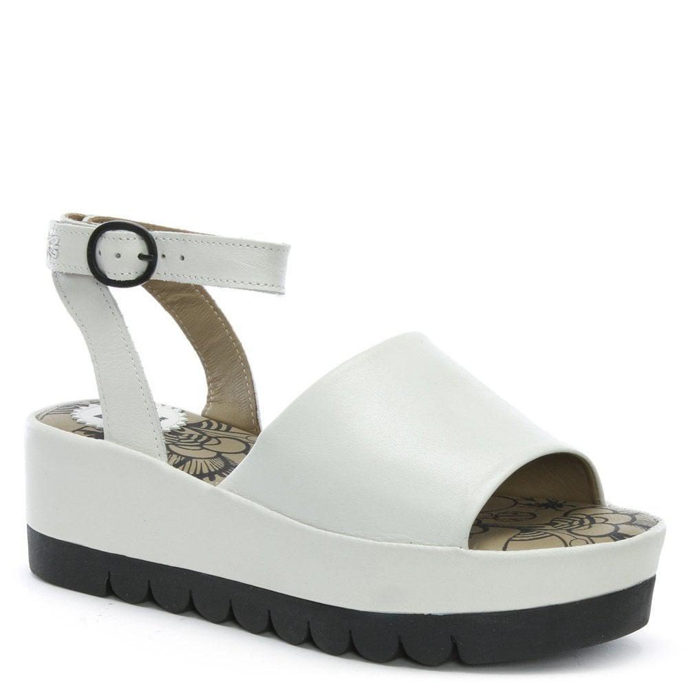 84ff2140a8cb Fly London - Booz White Leather Flatform Sandals - Lyst. View fullscreen