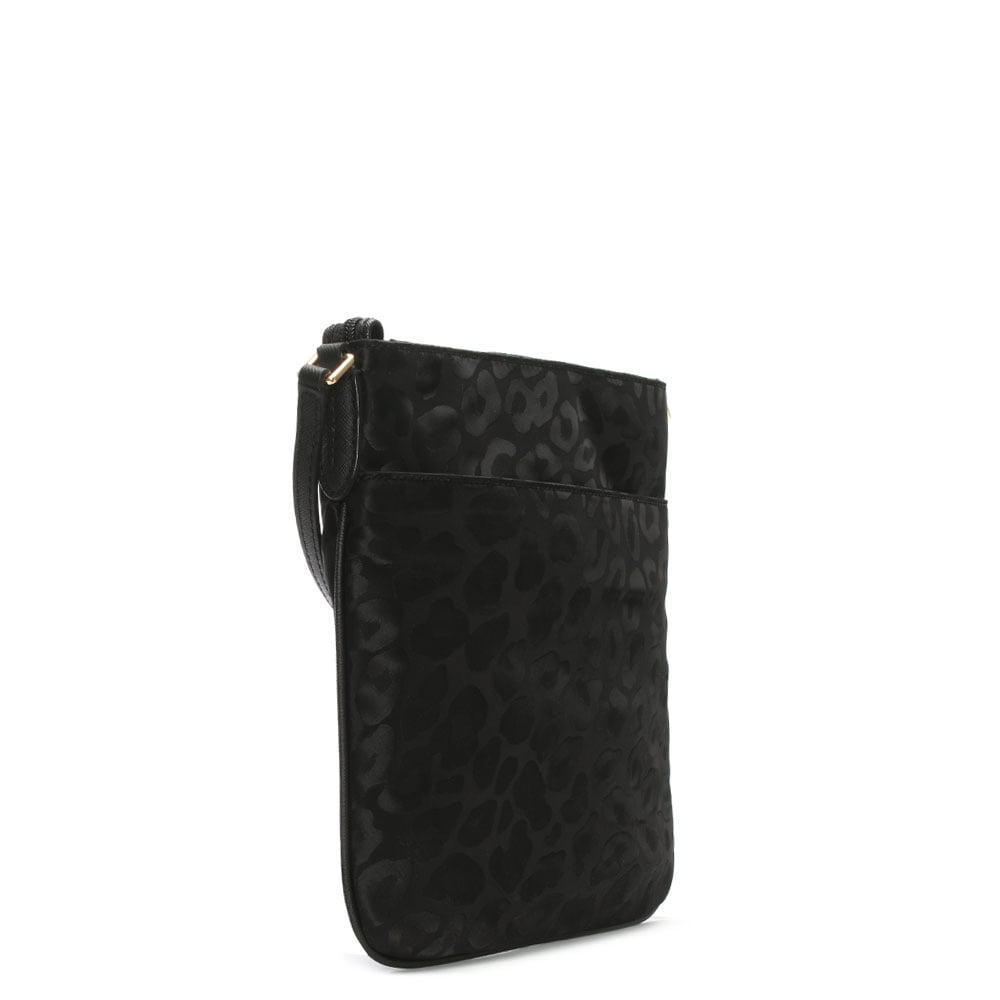 c1b7b3af30021 Lyst - Michael Kors Kelsey Black Nylon Leopard Print Cross-Body Bag ...