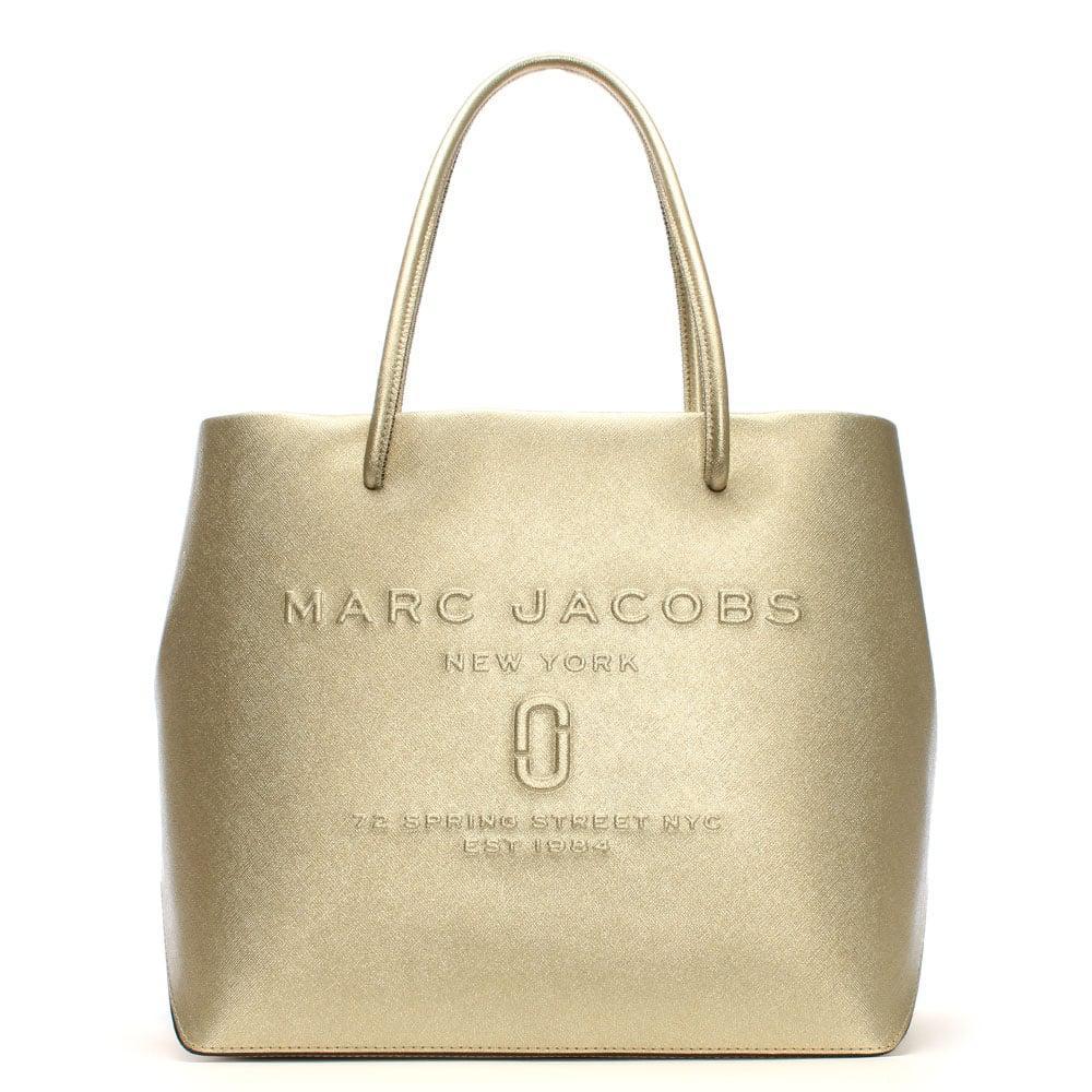 8da8cf3ffa9 Marc Jacobs Logo Shopper Gold Leather East West Tote Bag in Metallic ...