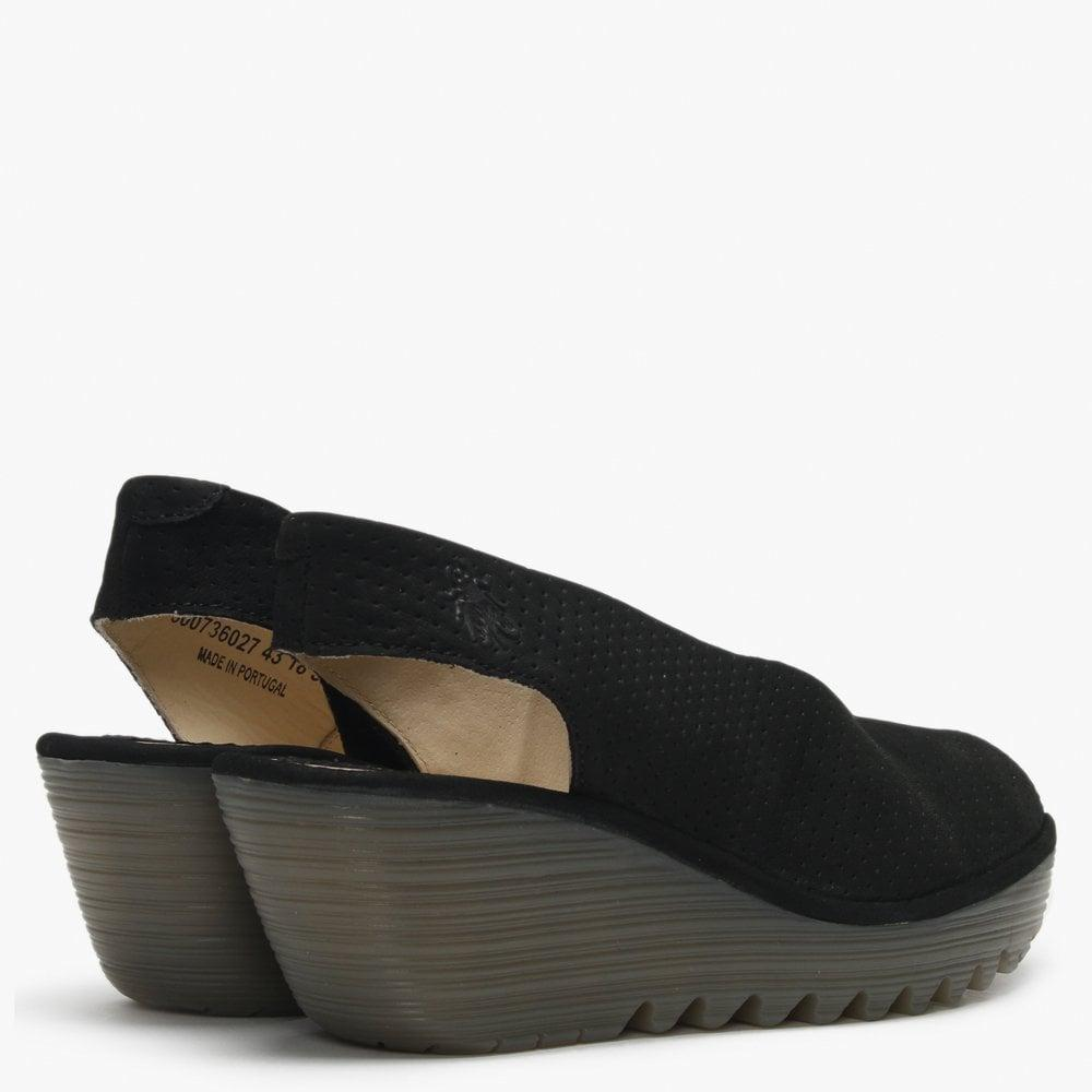 109c1ced71bc8 Fly London - Yazu Black Leather Perforated Sling Back Wedge Sandals - Lyst.  View fullscreen