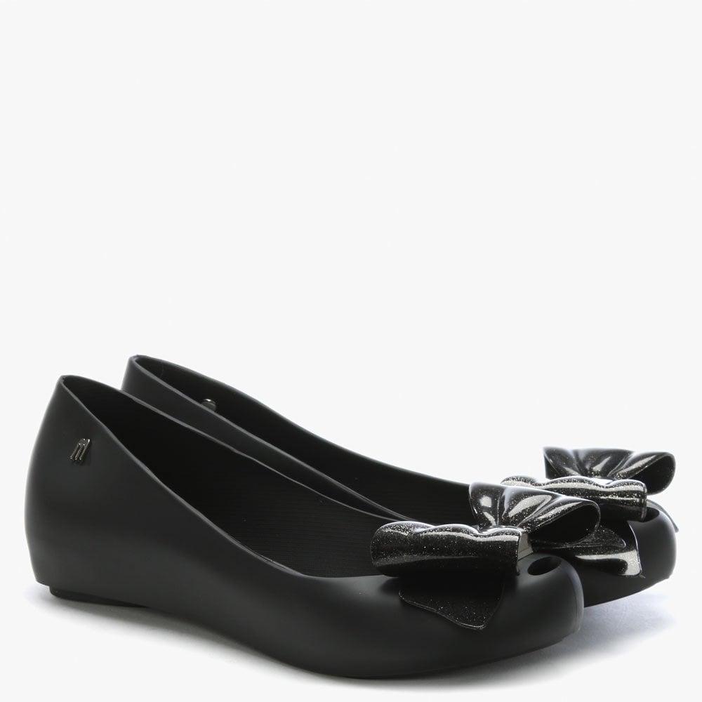 7a43fbc6132c Lyst - Melissa Ultragirl Black Glitter Sweet Bow Ballet Flats in Black