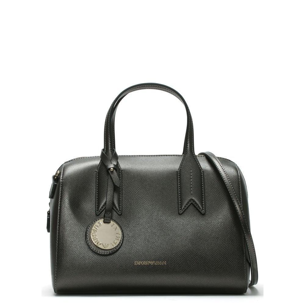 ef8d13dd98 Emporio Armani. Women s Frida Steel Black Textured Top Handle Bowling Bag.  £180 From Daniel Footwear ...