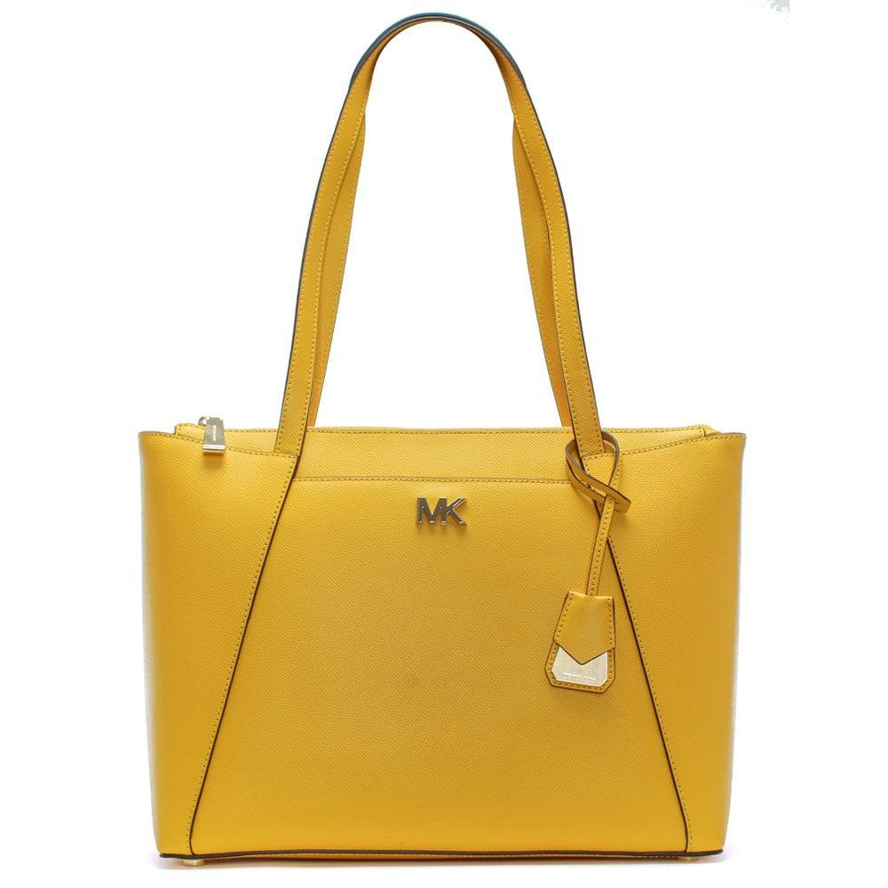 e87242d5318fe0 Michael Kors Maddie Sunflower Leather East West Tote Bag in Yellow ...