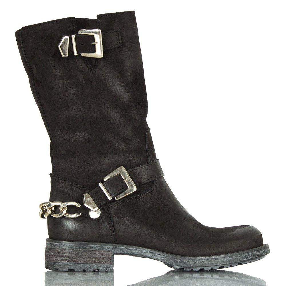 1e59357eb Daniel Black Leather Chains Women'S Calf Biker Boot in Black - Lyst