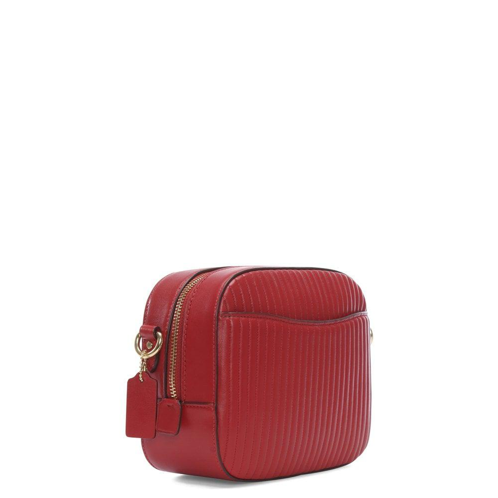 92ed1c2a6aa5 Lyst - COACH Quilted Red Leather Camera Bag in Red