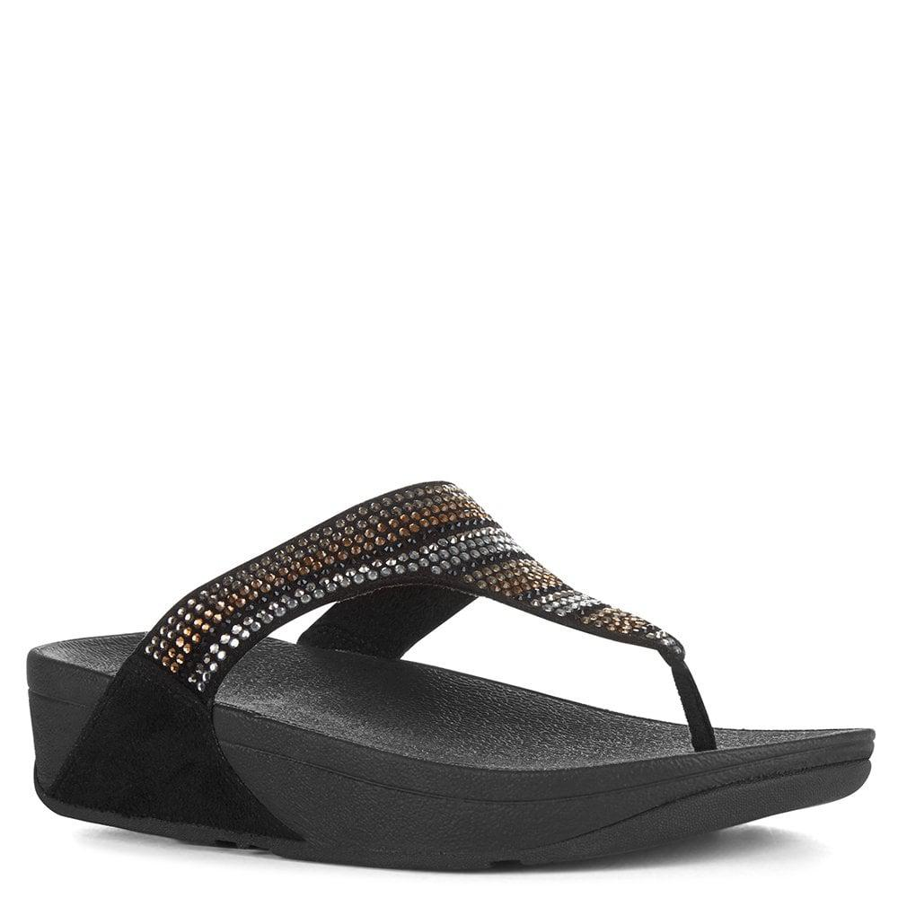 213f7d76b Fitflop - Strobe Embellished Black Toe Post Flip Flops - Lyst. View  fullscreen