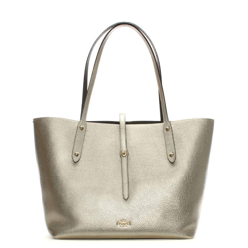 Tote - Metallic Leather Market Tote Platinum Chestnut - gold - Tote for ladies Coach zlNb049